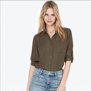 Express Button Up Blouse in Olive Green